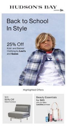 Clothing, Shoes & Accessories deals in the Hudson's Bay catalogue ( Expires today)