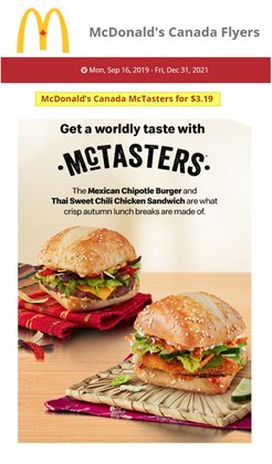 Restaurants offers in the McDonald's catalogue in Toronto ( More than a month )