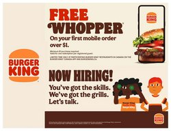 Restaurants deals in the Burger King catalogue ( More than a month)