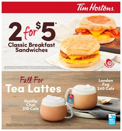 Restaurants offers in the Tim Hortons catalogue in Drummondville