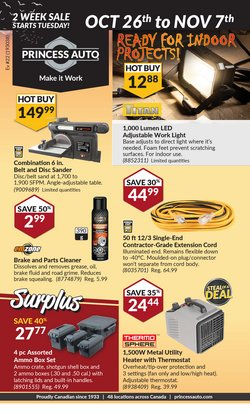 Automotive deals in the Princess Auto catalogue ( Published today)
