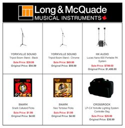 Long & McQuade deals in the Long & McQuade catalogue ( More than a month)