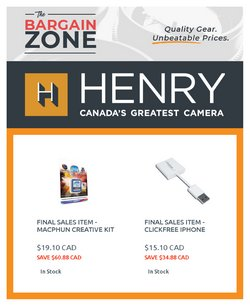 Henry's deals in the Henry's catalogue ( Expires tomorrow)