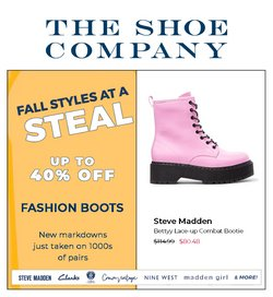 The Shoe Company deals in the The Shoe Company catalogue ( 20 days left)