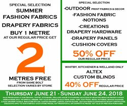 Fabricland deals in the Oshawa flyer