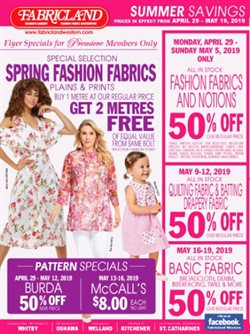 Fabricland deals in the Guelph flyer