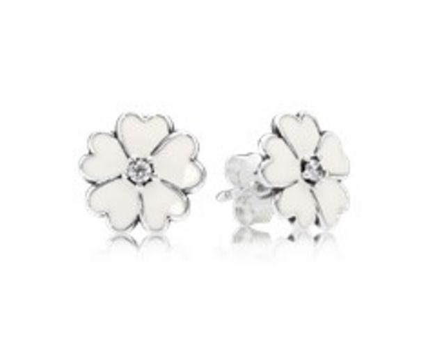 Primrose Stud Earrings, White Enamel discount at $55