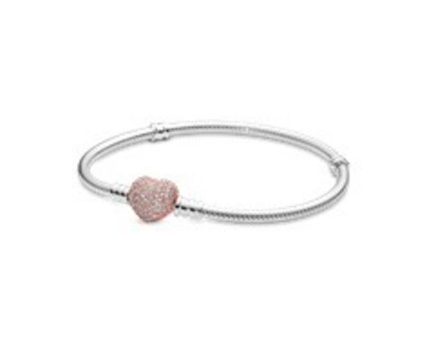 Pandora Moments Pavé Heart Clasp Snake Chain Bracelet discount at $130