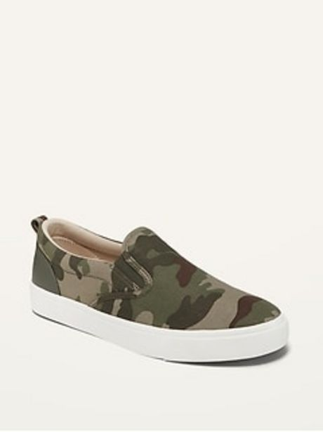 Gender-Neutral Camo-Print Canvas Slip-Ons for Kids  discount at $16