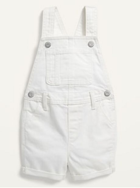 Unisex Frayed-Hem White Jean Shortalls for Toddler discount at $14.97