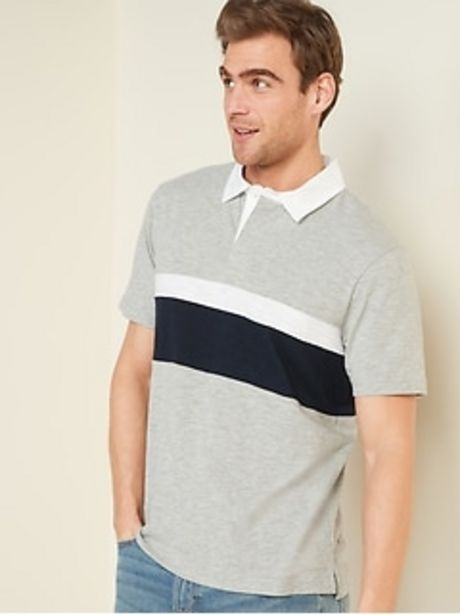 Slub-Knit Color-Blocked Short-Sleeve Rugby Polo for Men discount at $14.97