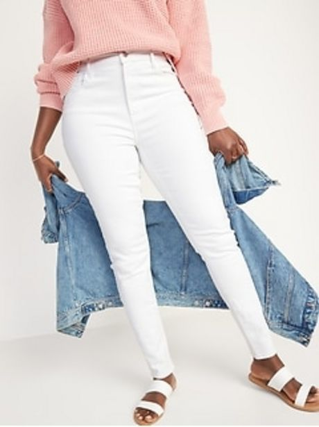 High-Waisted Rockstar Super Skinny White Jeans for Women discount at $36.97