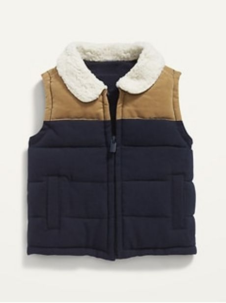 Sherpa-Collar Color-Blocked Flannel Vest for Baby discount at $29.99