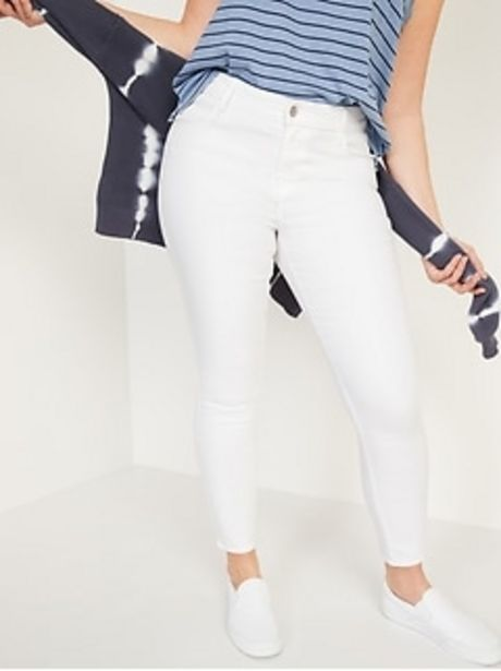 Mid-Rise Super Skinny White Jeans for Women discount at $17.97