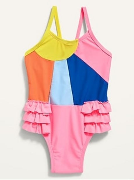 Ruffle-Trim Color-Blocked Swimsuit for Toddler Girls discount at $12.97