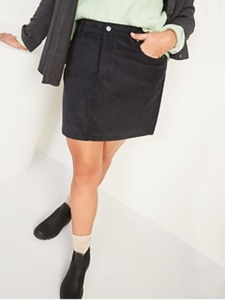 High-Waisted Button-Fly Corduroy Mini Skirt for Women discount at $19.9