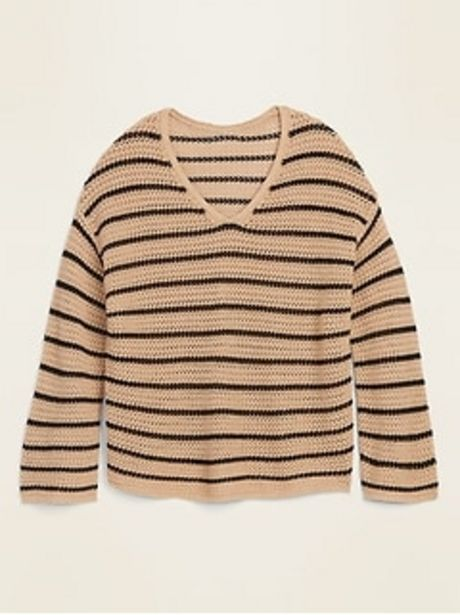 Slouchy Crochet V-Neck Sweater for Women discount at $27.97