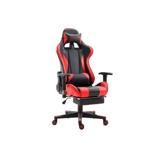 ViscoLogic SpeedX Ergonomic Faux Leather Gaming Chair with Footrest - (Red n Black) discount at $179.97