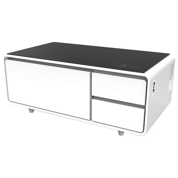 Sobro Smart Coffee Table with Refrigerated Drawer - White discount at $1149.99