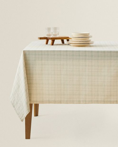 Yellow Striped Check Tablecloth discount at $99.9